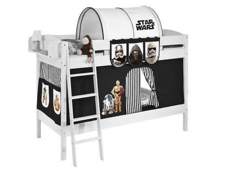Schwarz Holz Etagenbett (Lilokids Etagenbett IDA 4105 Star Wars, Teilbares Systembett mit Vorhang und Lattenroste Kinderbett, Holz, schwarz, 208 x 98 x 150 cm)