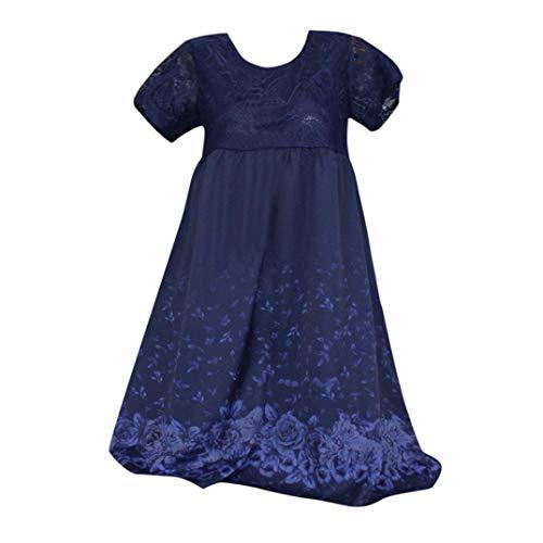 JUTOO Womens Casual Daily Plus Size Kurzarm Print Splice Spitze Bodycon Minikleid(Blau,EU:50/CN:4XL)
