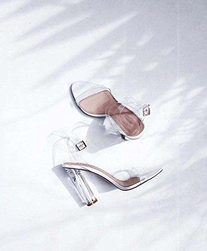 Sandalo tacco Coarse PVC trasparente Moda semplice e trasparente con i sandali grossolani Sandali con tacco White