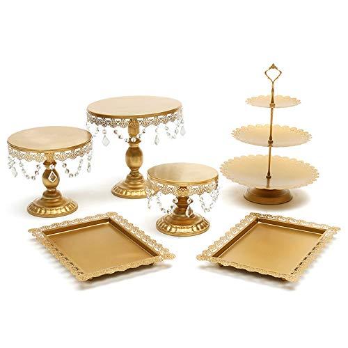 Audrly Metall Kuchen Stand Cupcake Dessert Portion Gestell Party Hochzeit Bankett Tabelle Dekorationen 6Er Pack Gold (Hochzeit Dessert Tabellen)