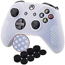 YoRHa Tachonado silicona caso piel Fundas protectores cubierta para Microsoft Xbox One X y Xbox One S Mando[Después del modelo 8.2016] x 1 (blanco) Con Pro los puños pulgar thumb grips x 8