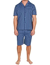 Hombre Pijama Botón Frontal Set Manga Corta Top y Shorts