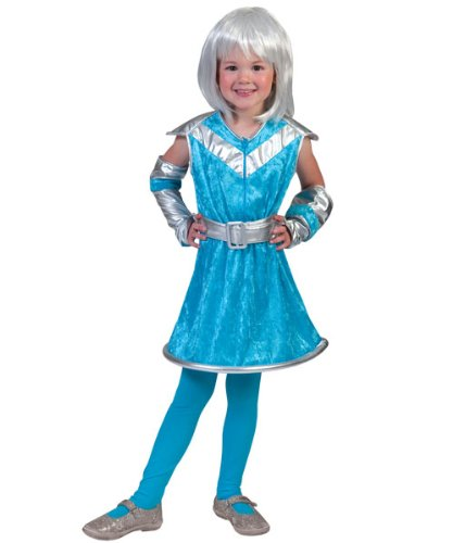Kostüm Galaxy Girl Größe 128 Kinderkostüm Mädchen Alien Astronautin Außerirdischer Planet Weltall Raumschiff Kleid Karneval Fasching (Girl Space Kostüm Silber)