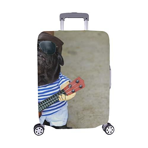 (Nur abdecken) Indy Musiker Gitarrist Mops Hund Lustige Mops Staubschutz Trolley Protector case Reisegepäck Beschützer Koffer Cover 28,5 X 20,5 Zoll