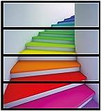 Wallario Möbelfolie/Aufkleber, geeignet für IKEA Malm Kommode - Bunte Treppe mit 4 Schubfächern