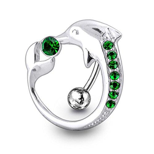 Dark Green Crystal Stein Trendy Dolphin Design Sterling Silber Bauch Bars Piercing - Anker Bauchnabel-ringe
