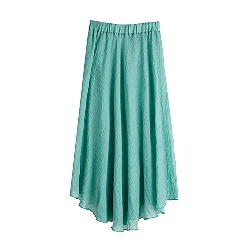 Felicove Damen Maxikleid, Bohemian Style elastisches Taillenband aus Baumwolle Leinen Long Maxi Rock...