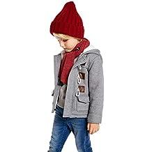 Algodón Abrigo para Niños, Niños Parka Duffle Invierno Calentito Manga Larga Chaquetas con Capucha Horn