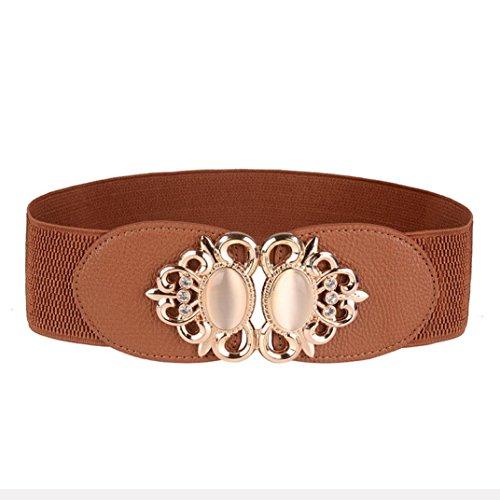 Malloom® Mujeres Cinturón , Retro Clásico Gem Decoración Joya Set Cinturón elástico Auger (marrón)