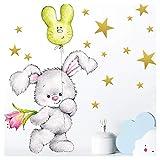 Little Deco Wandtattoo Hase mit Sterne I A4-21 x 29,7 cm I Luftballon Wandbilder Kinderzimmer Deko Babyzimmer Junge Wandsticker Kinder Mädchenzimmer DL181