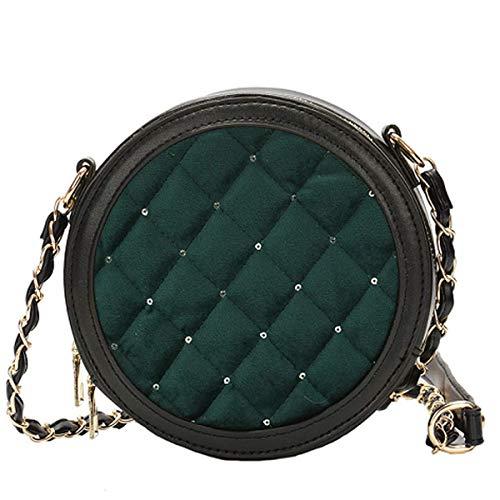 Gold Samt Handtasche 2019 neue Mode Runde Pailletten Schulter Messenger Bag weibliche koreanische Version des Rhombischen Kette Paket (Grün, 16 * 7 * 16cm) -