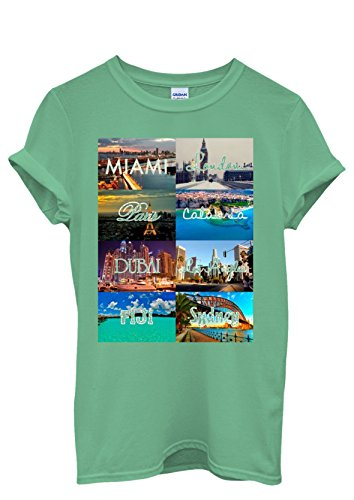 Miami Paris London Los Angeles Sydney Men Women Damen Herren Unisex Top T Shirt Grün