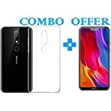 Sanguine -Combo Offer Transparent- Premium Quality_Tempered Glass & Back Cover_ Soft Case Cover For Nokia 6.1 Plus - B07GRDF6SL