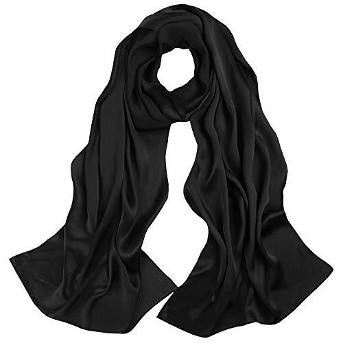 LD Seidenschals Damen Tuch Stola Abendkleid 100% Seiden Schal Festliche Seidentuch Hautfreundlich Halstuch 170 * 55cm (Seiden Satin-Schwarz) MEHRWEG -