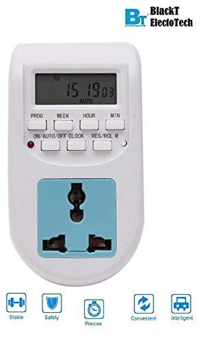 Blackt Electrotech 230V 24×7 Energy Saving Socket Type Digital Programmable Plastic Electronic Timer (White)