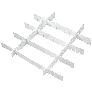 SODIAL(R) Grille/separateur de tiroir En plastique Blanc Organisation DIY pour la maison