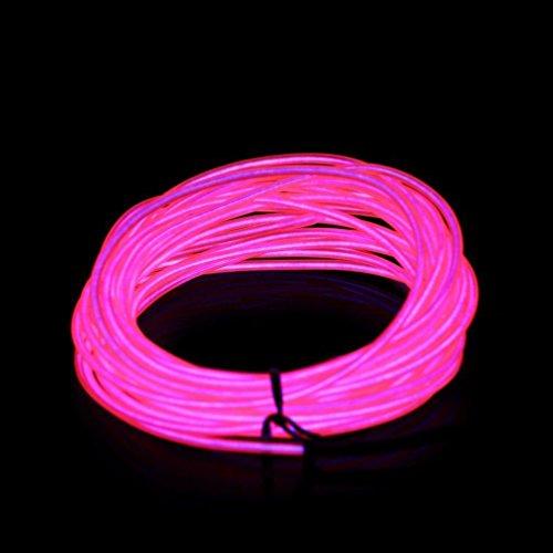 ILOVEDIY 3M Fil Neon Flexible Led Lumière Bande de Corde Light À Piles EL Wire avec Boîte de Contrôle pour Voiture Décoration Fête Club Restaurant Café Jardin (Rose, 3M)