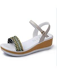 XZGC Sandali Piatto Antiscivolo Rivetto Tipo di Scarpe da Donna, 39 EU, Oro