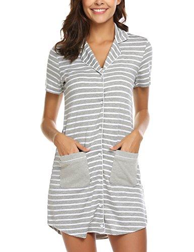 MAXMODA Damen Nachthemd mit Knopfleiste Nachthemd mit Kurzarm Gestreifte Nachtwäsche Schlafhemd mit Revers Grau L