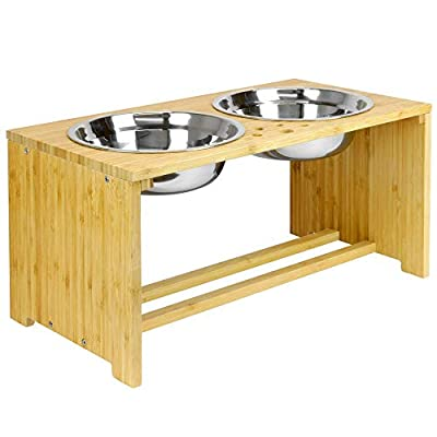 Maison & White Raised Double Pet Bowls | Dog/Cat 2 In 1 Food & Water Metal Bowls | Elevated Bamboo Non-Slip Stand Feeder | M&W by Xbite