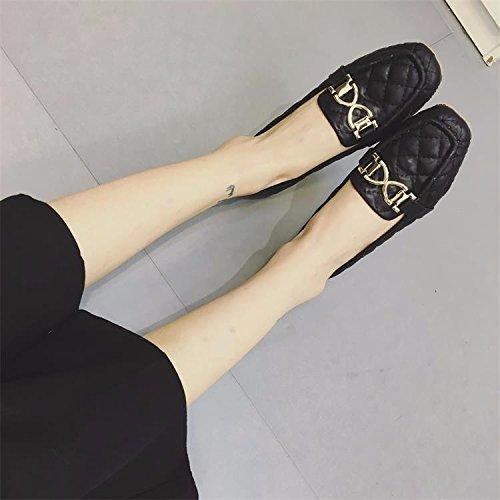 WYMBS femmes chaussures plates occasionnels chaussures de travail confortables talons plats Black