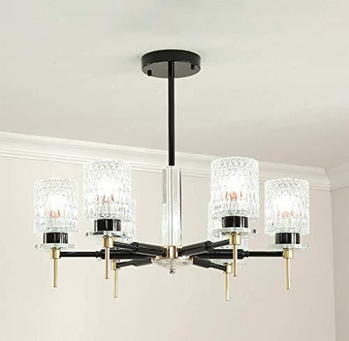 ZJ-TTravel Crystal Kronleuchter für Wohnzimmer, Schmiedeeisen Industrie Pendelleuchte Glas Lampenschirm Deckenleuchte Wohnzimmer Lampe Schlafzimmer Esszimmer Dekoration Lampen, 110/220 V, 8 Kopf -