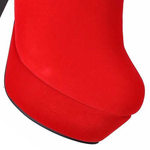 AllhqFashion Damen Rein Hoher Absatz Reißverschluss Rund Zehe Stiefel mit Zirkon Rot