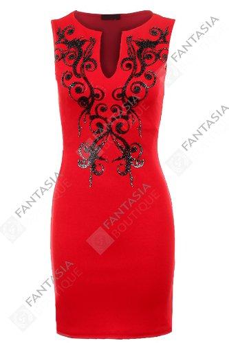 FANTASIA BOUTIQUE Damen Ärmellos Schwarz Glänzend Wulstig Offener Ausschnitt Kurz Enganliegend Damen Kleid eu 36-44 Rot