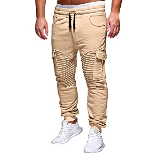 UFACE Herren Plissee Fit Fitnesshose seitlich große Taschen Jogginghose lässig(Khaki,3XL)