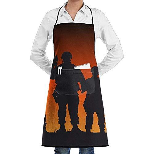 Küchenschürze,Bewaffnete Waffe Infanterie Soldaten Sonnenuntergang Schürze Spitze Erwachsener Chef Einstellbare Lange Voll Schwarz Kochen Küchenschürzen Lätzchen Mit Taschen für Restaurant Backen BBQ