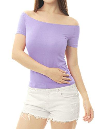 Allegra K Damen Slim Fit Kurzarm Off Shoulder Crop Top Oberteil Lavender XS (EU 34)