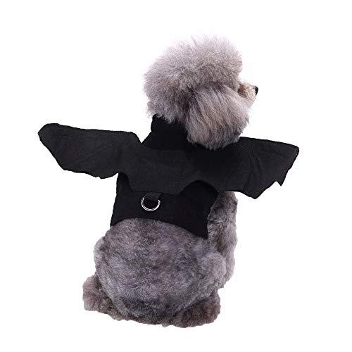 YCGG Hunde Kleidung FüR Kleine Hunde-Tier Haustier Hund Katze Fledermaus Vampir Halloween Kostüm Outfit Flügel(M,Schwarz) (Kostüm Vampire Halloween Dog)