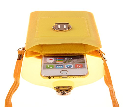 Kiss Gold (TM) Mini Sacs Etanche Bandoulière PU Sac Brillant pour Téléphone Portable Pochette Jaune