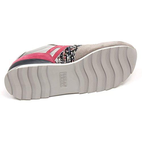 C7986 sneaker donna HOGAN REBEL R261 scarpa grigio/rosa scuro shoe woman grigio/rosa scuro