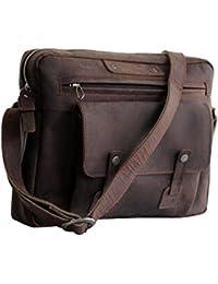 Craftvilla Bolsa bandolera de piel con estilo vintage, para todas las edades, 33,02 cm
