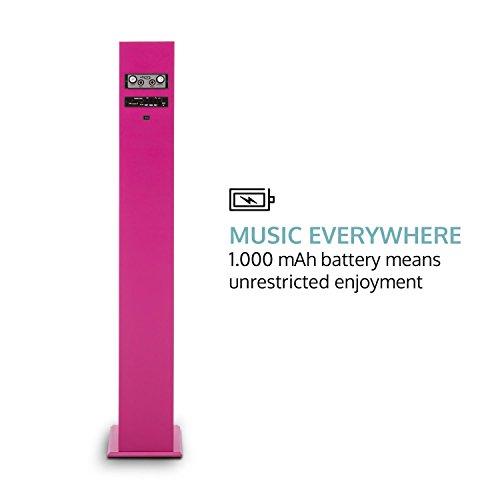 oneConcept Tallgirl • Karaoke Anlage • Karaoke Player • Karaoke Set • Turmlautsprecher • vier Breitbandlautsprecher • Bassreflex • Bluetooth • 2 x Kabelmikrofon • 1000 mAh Akku • Radio-Tuner • USB-Port • MP3-fähig • AUX-IN • LED-Effektbeleuchtung • pink - 4