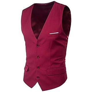 Suit Vest New Formal Patchwork Mens Ge Essential Anz Dress Waistcoat Plus Size Fashion Slim Fit Wedding Men Men Vest (Color : WineRed, Size : 2XL)