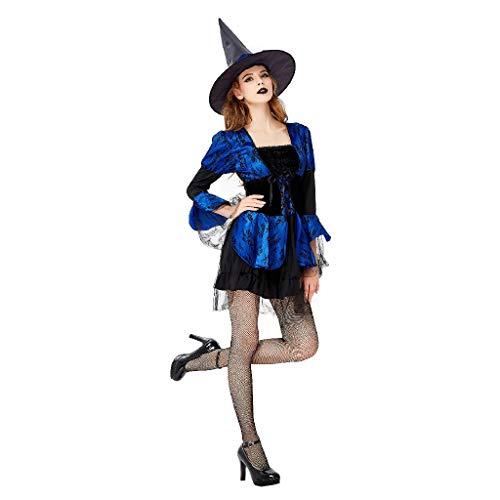 TcooLPE Halloween Cosplay Hexenspiel Anzug, Hexenkleid Hexe Hexe Nachtclub Maskerade Kostüm Hexe Model Performance Kostüm Schwarz Geisteranzug (Size : L) (Satin-stretch-robe)