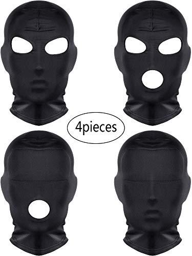 SATINIOR 4 Stücke Halloween Schwarz Hautmasken Vollmasken Voll Abdeckung Masken für Halloween Kostüm Cosplay Party Geschehen (Stil 1) (Maske, Kostüm Schwarze Halloween)
