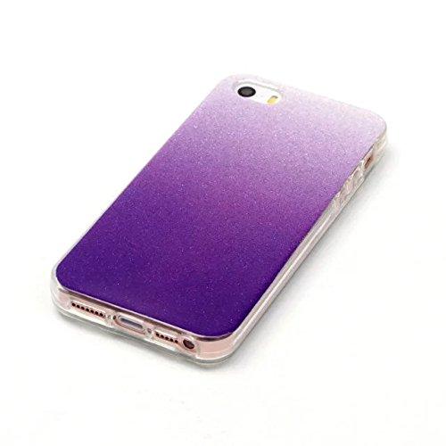 iPhone Case Cover IPhone 5 5S SE Cover, Transparent Gradient Couleur Soft TPU Housse de protection Couverture souple arrière pour iPhone 5 5S SE ( Color : Deongaree , Size : IPhone 5 5S ) Purple