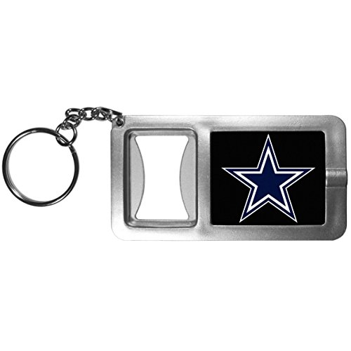 Siskiyou NFL Dallas Cowboys Split Ringer Taschenlampe Schlüsselanhänger mit Flaschenöffner, Grau/Schwarz -