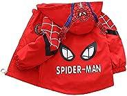 WEIR Chaqueta de Spiderman para niños Primavera y otoño para niños de una Sola Capa con Bolsillo con Cremaller