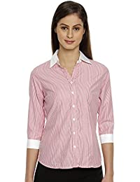 Bombay High Women's 3/4 th Sleeves Stripes Formal Office Wear Shirt