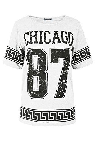Damen Chicago 87 Grichischer Bedruckt USA Varsity Baseball Dehnbar Übergroßer Baggy-Stil T-Shirt Oberteil Chicago 87 Weiß