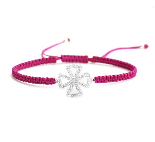 Queenberry Sterling-Silber 925 Zirkonia Kreuz Faith Rose Armband geflochten verstellbar, handgefertigt, (Cord-strass-rose)