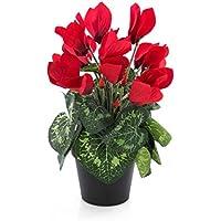 Cyclamen artificiel dans un pot, 12 fleurs, rouge, 25 cm - Fleur artificielle / Plante artificielle - artplants
