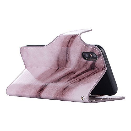 iPhone X Hülle, Valenth PU Leder Marmor Brieftasche Hülle Cover [Stand Feature] [ID Card Slots] Flip Cover für iPhone X Rosa