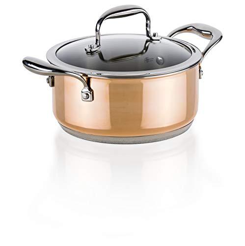 Zócalo Original Genius copperfit Emotion–Olla, Set 2piezas., diámetro 20cm Acero Inoxidable Olla de cobre Nuevo