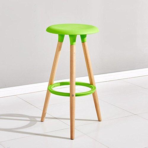 DZW Personnalité de la Mode Bois Massif Chaise de Bar Chaise de Bar Tabouret Haut Tabouret Rond Ménage 76 * 47 * 38 cm, Bar Chair (Green),Fort