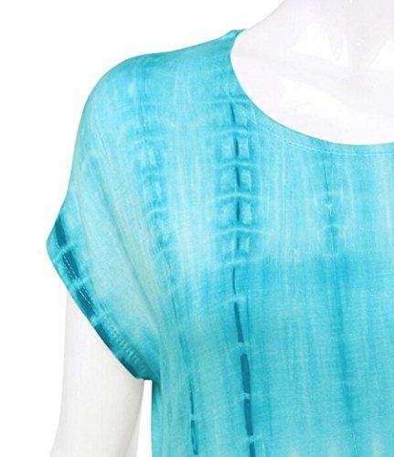 NiSeng Donna Casual Orlo Irregolare Collo Rotondo Stampa Slim Fit Manica Corta Camicia Tunica Asimmetrico Top Blu